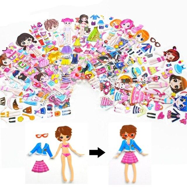 Atractivo vestido de dibujos animados de Anime pegatinas 3D pegatinas de PVC pegatinas de burbujas de juguete divertido chicas interesantes juguetes de regalo para niños
