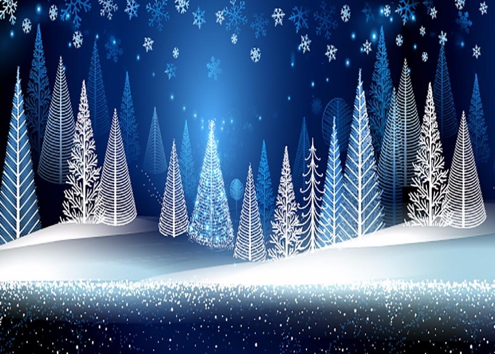 7x5ft Blue Snow Flakes Winter Wonderland Pine Forest