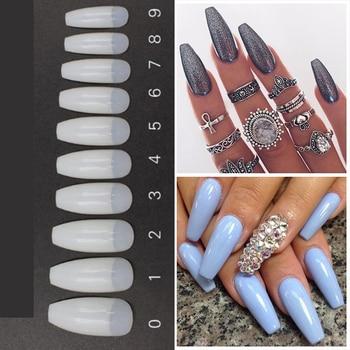 500pcs/Bag  Long Ballerina Half Cover False Nail Tips Glue 10size Press On Nails Manicure Gel Polish DIY False Fake UV Gel Tips Маникюр