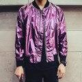 2015 новый ночной клуб бар DJ мужская кожаная куртка бейсбол рубашки фиолетовый / серебро яркие блестящие свободного покроя куртка тонкий быстрая доставка