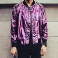 2015 new nightclub bar DJ Men's leather jacket baseball shirt purple / silver bright shiny casual jacket Slim Fast delivery