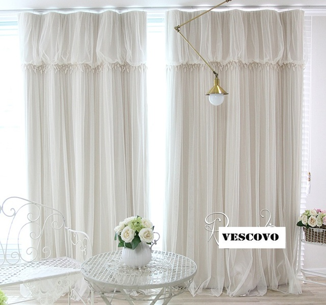 White Lace Fancy Sheer Curtain Romantic Girls Princess Curtain ...