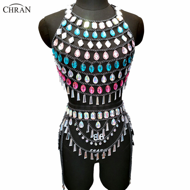 Chran 2 Two Piece Nightclub Party Crop Top Summer Skirt Exotic Necklace Beach Bra Bralette Gem Sparkly Dress Sexy Festival Wear