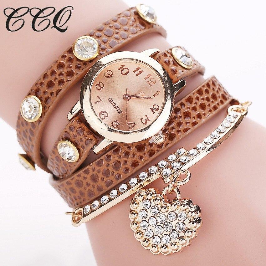 CCQ Fashion Heart Pendant Watch Casual Women Bracelet Watches Quartz Watch Relogio Feminino 713 casual layered heart wings watch