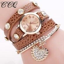 CCQ Мода кулон сердце часы Повседневное Для женщин браслет часы кварцевые часы Relogio Feminino 713