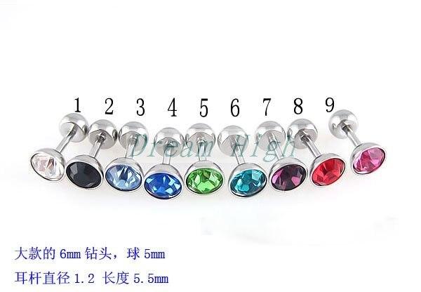 Wholesal Ear Piercing Ear Stud Fashion Earring 100pcs/lot Free Shipping Fancy Ear Ring Nail Mixed Color