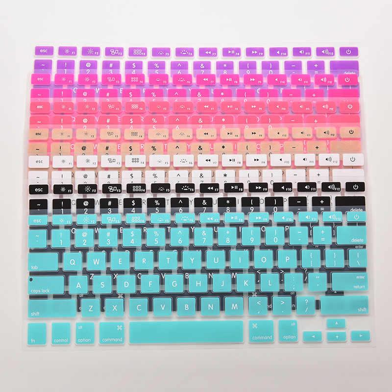 7 cukierkowe kolory 28.7cm x 11.9cm klawiatura silikonowa skórzany pokrowiec dla Apple Macbook Pro MAC 13 15 17