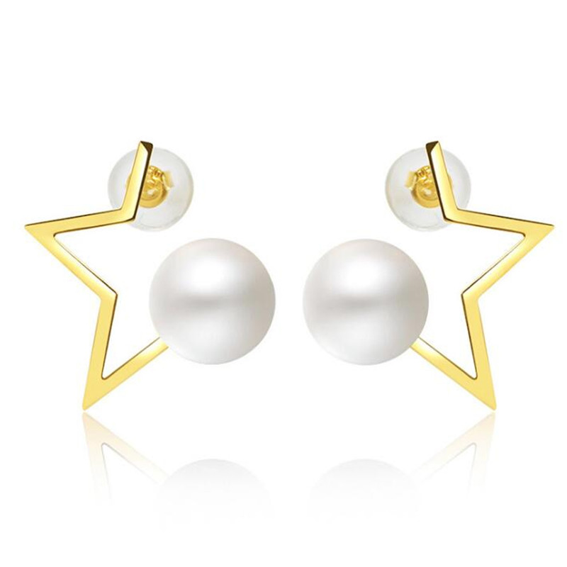 купить 2018 Hot Trendy Fashion Freshwater Pearl Jewelry Star Temperament Stud Earrings For Women Party 18K Gold AU750 Brincos по цене 6828.99 рублей