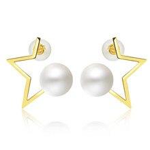 2018 Hot Trendy Fashion Freshwater Pearl Jewelry Star Temperament Stud Earrings For Women Party 18K Gold AU750 Brincos цены онлайн