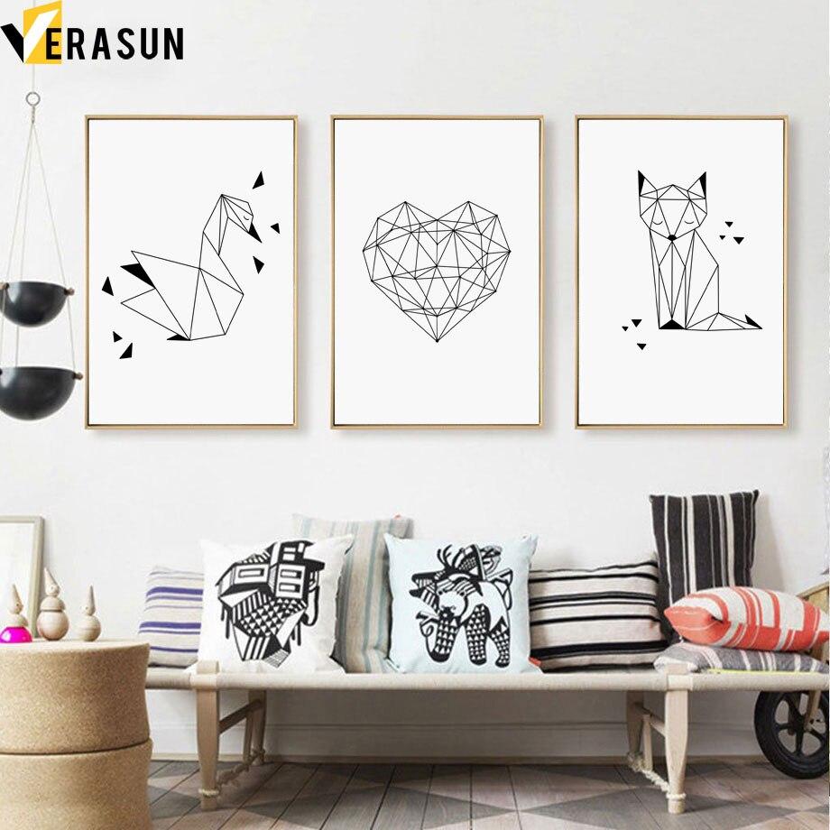Черно-белые абстрактные линии сердце лиса Лебедь скандинавские плакаты и принты настенная живопись холст настенные картины для декора гос...