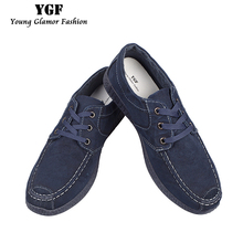 YGF Canvas Denim Shoes Men Breathable Non-leather Casual Shoes Jeans Men Footwear Canvas Lace Up Mens Shoes Tenis
