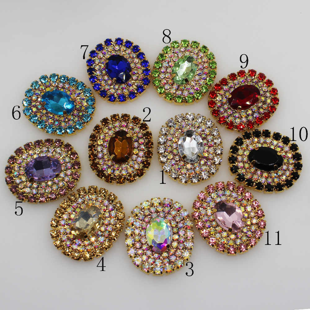 New 2Pc 25 30MM Oval clear glass AB rhinestone Button gold Wedding Bride  holding flowers 6118940ed587