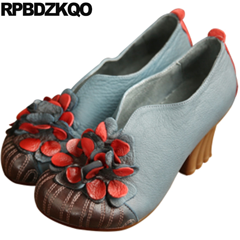 Round Toe Blue Genuine Leather 2017 Retro Thick Unique Floral Ladies Flower Handmade Women Shoes High Heels Vintage SpringRound Toe Blue Genuine Leather 2017 Retro Thick Unique Floral Ladies Flower Handmade Women Shoes High Heels Vintage Spring