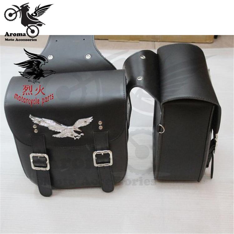 2 stks Zwart Lederen Side tool bag motor Bagage bag voor Harley - Motoraccessoires en onderdelen - Foto 1