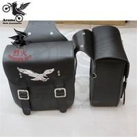 2pcs Black Leather Side tool bag motorbike luggage Bag for Harley mochila Sportster unviersal moto bag motorcycle Saddle Bags