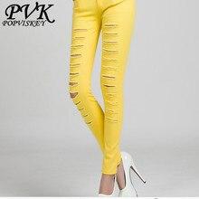 Новых женщин способа тощие повседневные брюки женские разорвал отверстие вырез хлопок тонкий джинсы женские сексуальные леггинсы Брюки белый черный