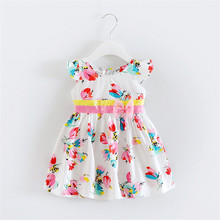 BibiCola 2018 baby girls dress summer new infant toddler dresses fashion print floral cool frock dress clothing party birthday