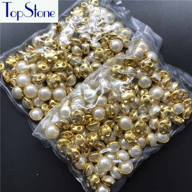 ccff3857df US $4.64 14% OFF Topstone 100pcs 6,8,9,10,12mm Sewing Ivory White Pearls  Beads Golden Claw Rhinestones Round Sew On Stones For Clothes T005-in ...