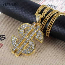 Hip Hop Gold Color Dollar Sign $ Pendants & Necklaces With Long Twist Chain Statement Necklace For Woman Men(China)