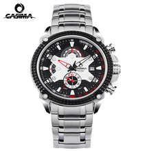 Fashion Brand CASIMA Watches Men Stopwatch Date Display Clock Luxury Elegant Table Calendar Steel Strap Mens