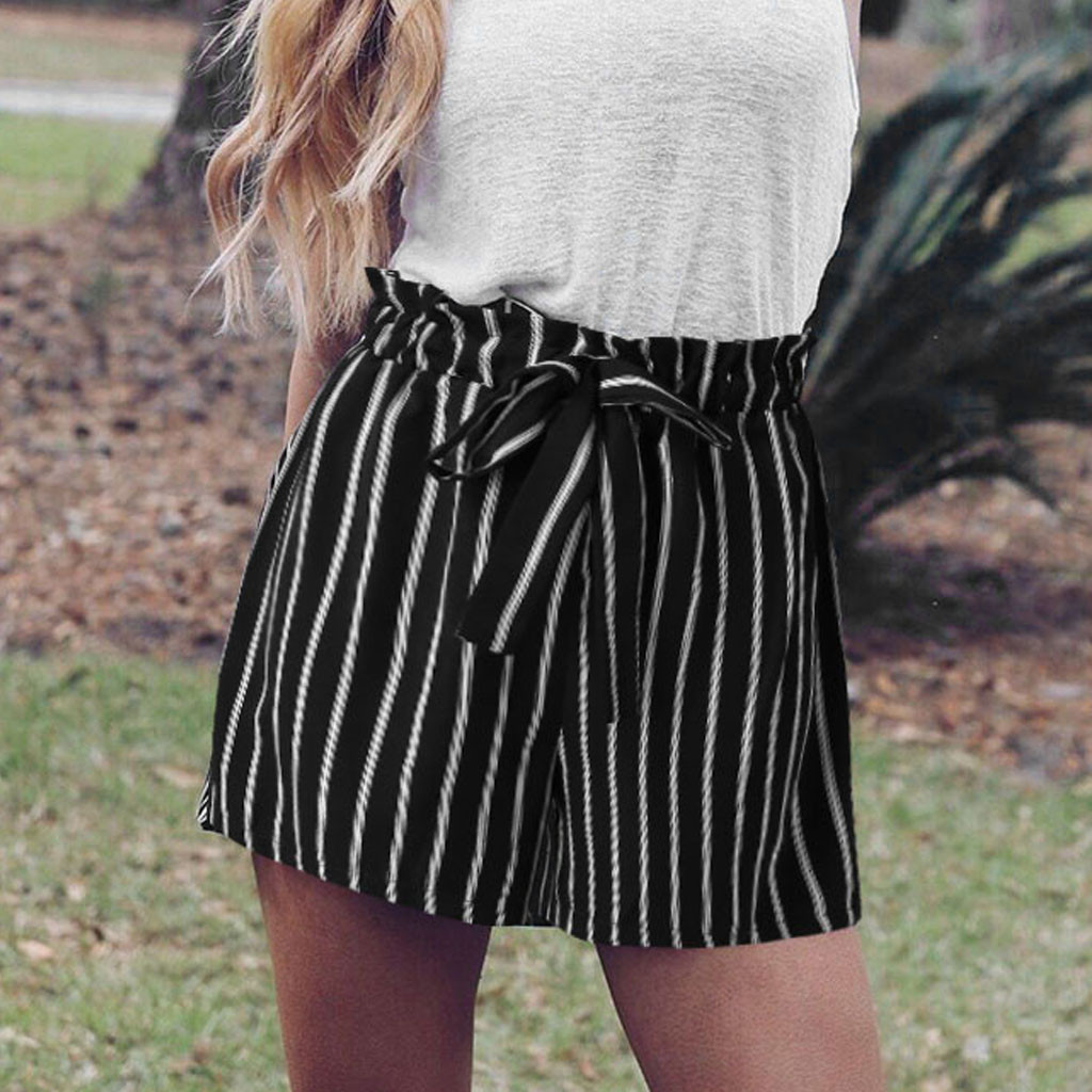 2019 Women Stripe Bandage Fashion Lace up   Shorts   Fashion Women Lady Sexy Summer Casual   Shorts   High Waist   Short   Beach Bow   Shorts