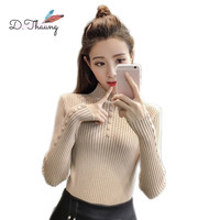 Spring Autumn Women Sweater 2019 New Thicken Long Sleeve High neck Women Pullover Bottoming Knit Slim Thin Ladies Sweater cw607