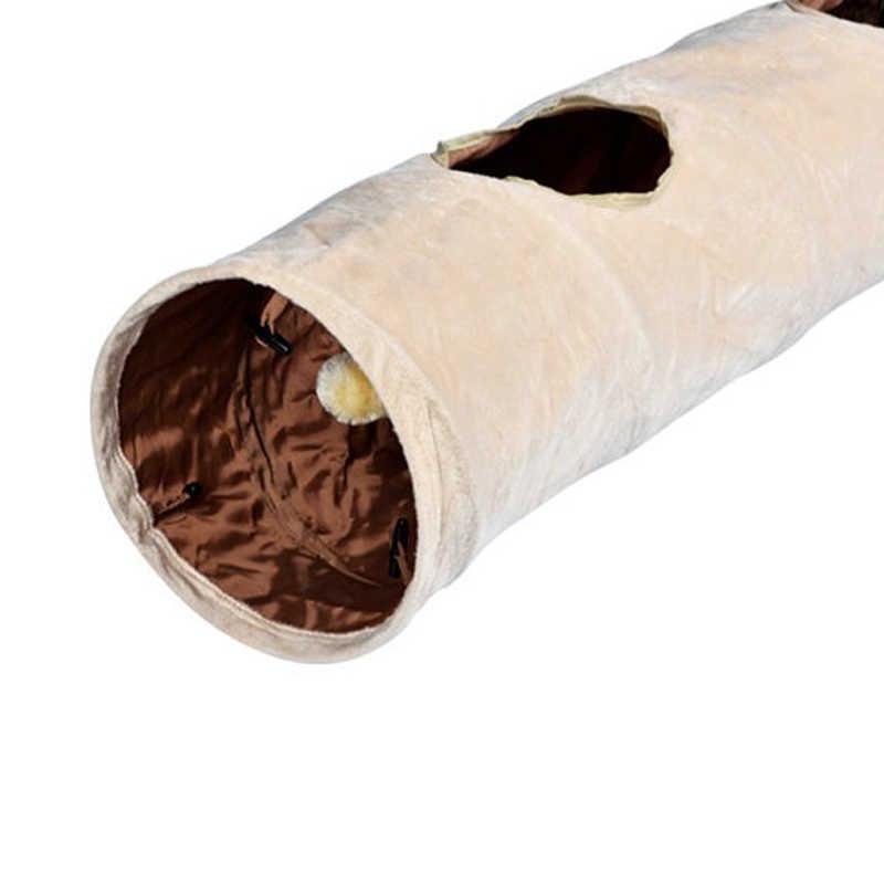 120cm tunel dla zwierząt długie 2 otwory kot szczeniak królik Teaser śmieszne ukryj tunel zabawki z piłką składany tunel dla kota