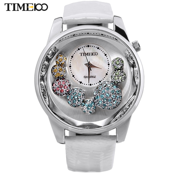 TIME100 Women's Watches White leather Strap Big Shell Dial Casual Dress Quartz W