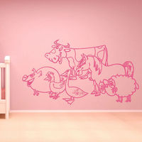 A Group Of Pig Hen Duck Cow Horse Sheep Kids Wall Sticker Animals Bedroom Decoration Hollow Out Vinyl Wall Decal