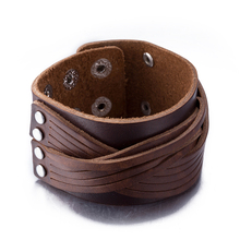 New Brown Color Genuine Leather Bracelets Punk Wide Cuff Bracelets & Bangle for Women Men Jewelry Accessory 2016