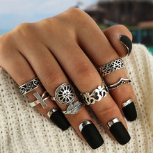 Bohemian Midi Finger Ring Set for Women Sunflower Ethnic Red Natural Stone Knuckle Rings Jewelry(China)