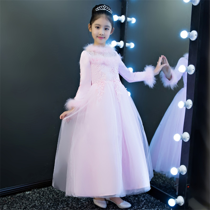 2017 New High Quality Sweet Pink Color Children Girls Elegant Princess Lace Long Dress Kids Birthday Wedding Party Winter Dress new high quality fashion excellent girl party dress with big lace bow color purple princess dresses for wedding and birthday
