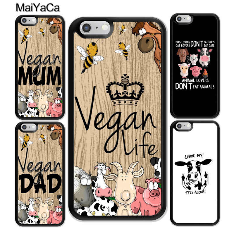 MaiYaCa Vegetarian Quotes VEGAN FOOD ANIMAL LOVE Soft Rubber Phone Cases For iPhone 6 6S 7 Plus 8 X XR XS MAX 5 5S SE Cover