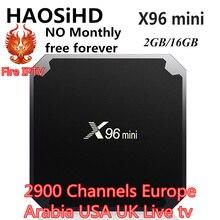 цены X96 mini android tv box 7.1 NO Monthly iptv italia Europe USA UK Germany LIve android tv Set top box 2GB/16GB X96mini