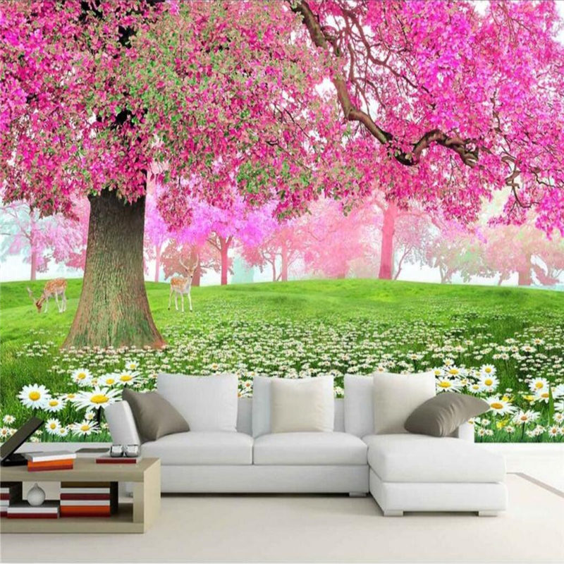 Beibehang Foto Kustom Wallpaper Dinding Mural Dekorasi Laut Pohon Sakura Jalan 3D TV Wall papel de