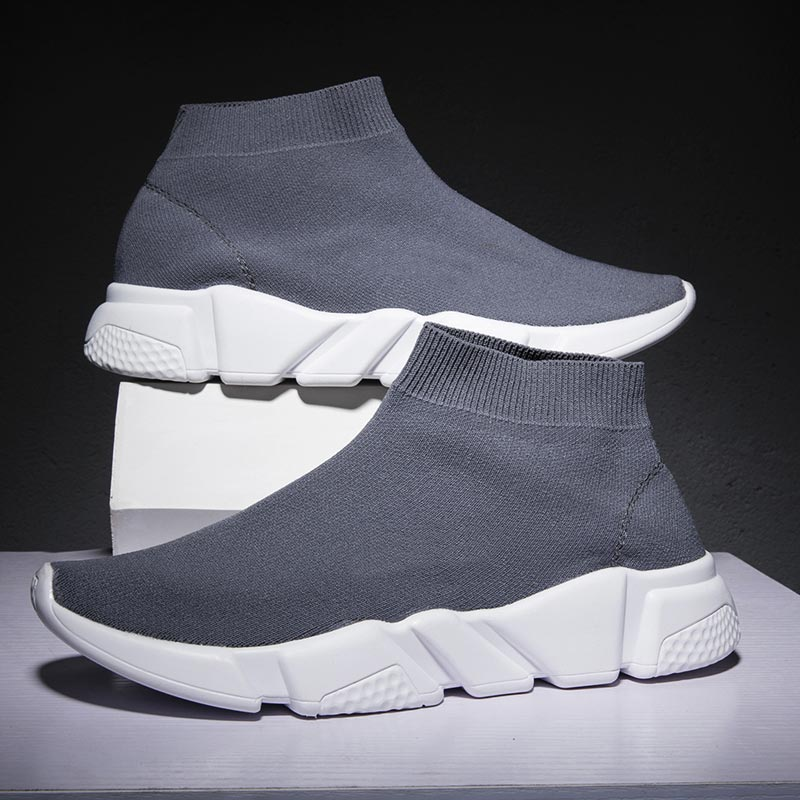 Plus Size High Top Socks Sneakers Women Running Shoes Sports Men Shoes Sport Femme Tennis Mujer 2019 Gray Training Trainer B-246