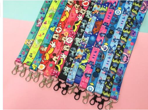 50 Pcs /Wholesale Lot Cartoon Mickey Minnie Stitch Mix Necklace Strap Lanyards Cell Phone PDA Key ID Strap Charms