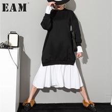 [EAM] Новинка 2017 Осень сплошной цвет Круглый воротник Длинные рукава Черный Белый Сплит Совместное Женщины корейские толстовки платье AS20941