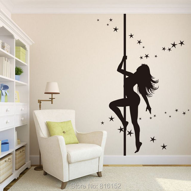 Aliexpresscom Buy Large Wall Decals Charming Pole Dancing Girl