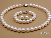 Unique Pearls jewellery Stone Real Pearl Jewellery Set Top Quality 11mm White Round Freshwater Pearl Necklace Bracelet Earring