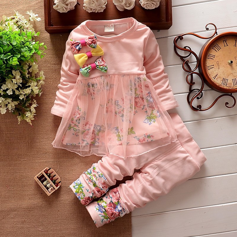 Baby Girls Clothing Sets with Floral Bow 2018 Spring Kids Clothes Girls Dress+Pant Children Set Tracksuit pink green children clothing set kids girl clothes 2016 girls sets brand floral dobby kids tracksuit jacket dress girls clothing sets