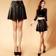 Women High-waist Slim Sheepskin A-line Skirt