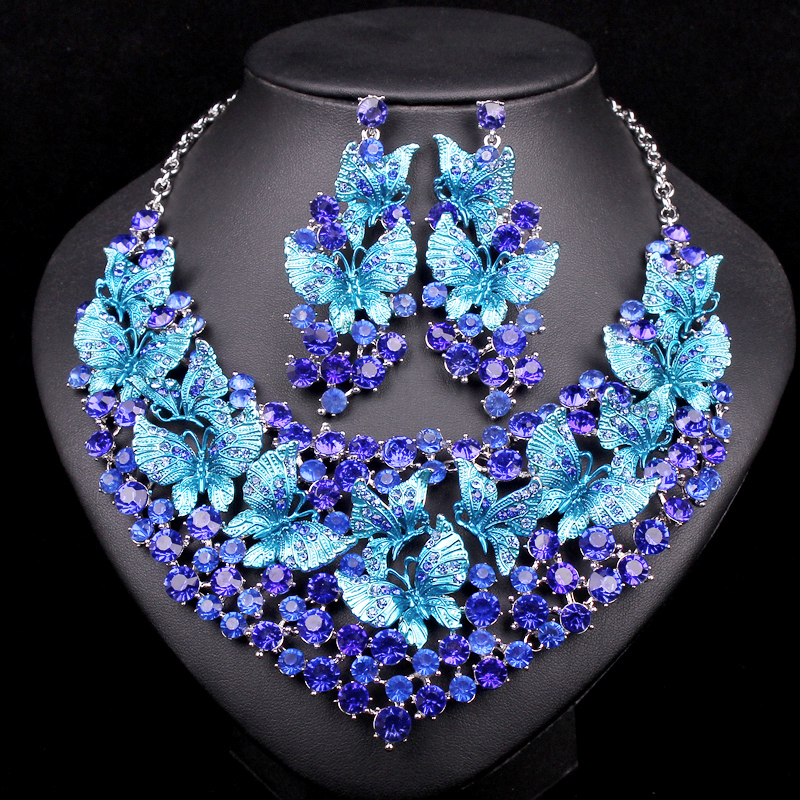 Fashion Butterflies Bridal Jewelry Sets for Brides Statement Necklace Earring Set Wholesale Costume Accessories Gifts for Women