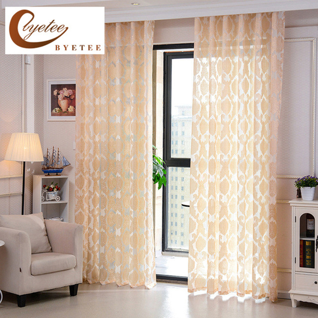 Byetee Modern Jacquard Sheer Curtain Living Room Bedroom Tulle Gold Pattern Kitchen Voile Curtains