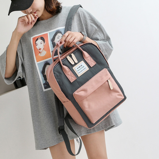 Korean Style Backpack Women Canvas Waterproof Laptop Backpacks Tote Handle  Student School Bags for Teenage Girls 7ad6074f83dfc