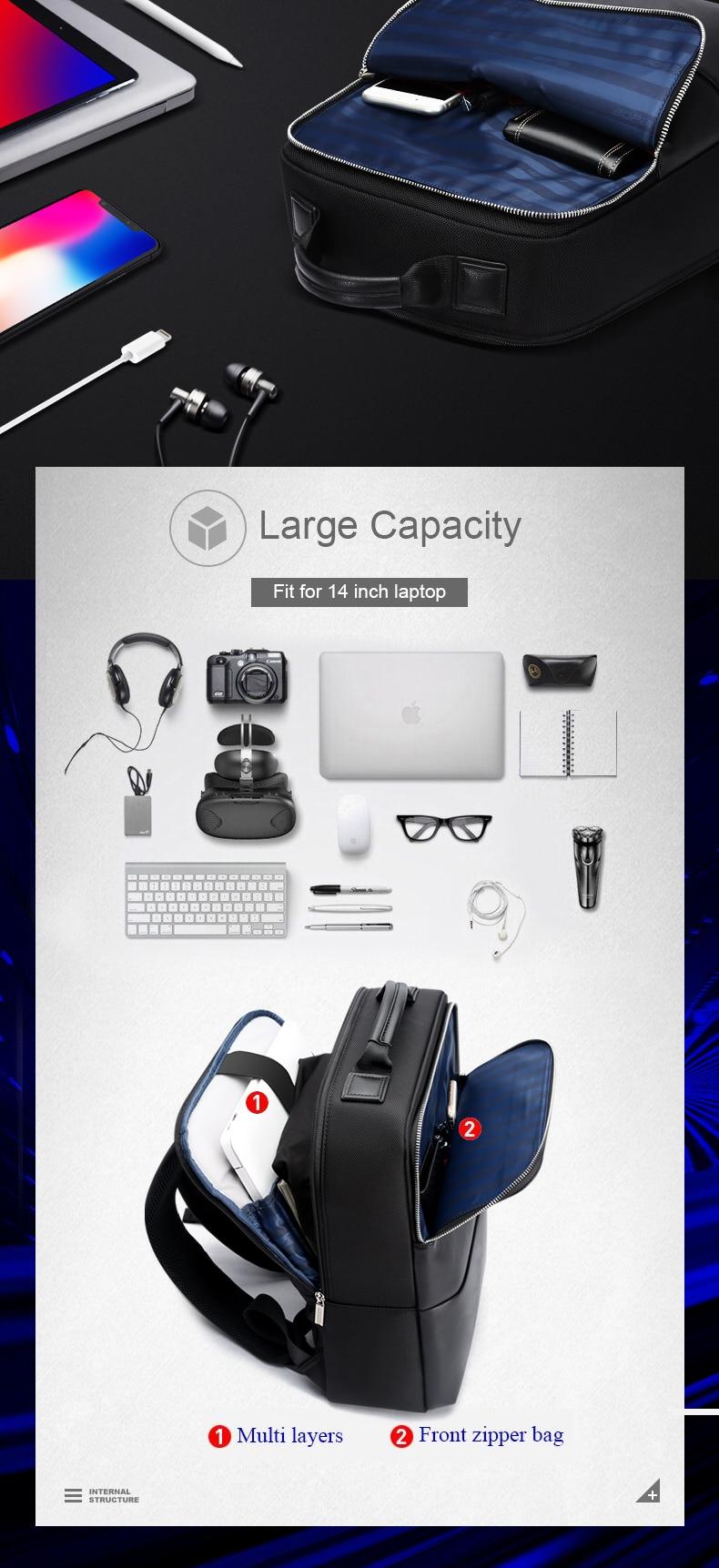 18 BOPAI Brand waterproof 15 inch laptop backpack men backpacks for teenager girls black leather male school backpack bag men 3