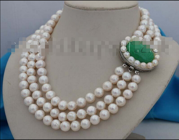 """FREE SHIPPING>>> 3rows 18-19-20"""" Genuine Natural 10mm White Round pearl Necklace"""