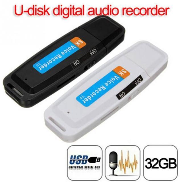 U Đĩa Ghi Âm nhựa USB 2.0 TF Thẻ Ổ Đĩa Flash Chuyên Nghiệp Bút WAV Ghi Âm Âm Thanh Kỹ Thuật Số USB đen #0330