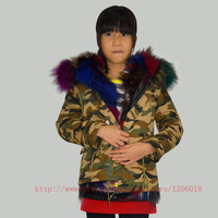 Camouflage Fur Parka,Fashion Girls&Boys Winter Colorfully Real Fox Inner Fur Winter Warm Fur Jacket For Children