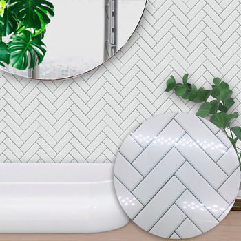 Funlife Nordic modern minimalist wall stickers white herringbone style tile stickers bedroom kitchen living room wall stickers фото